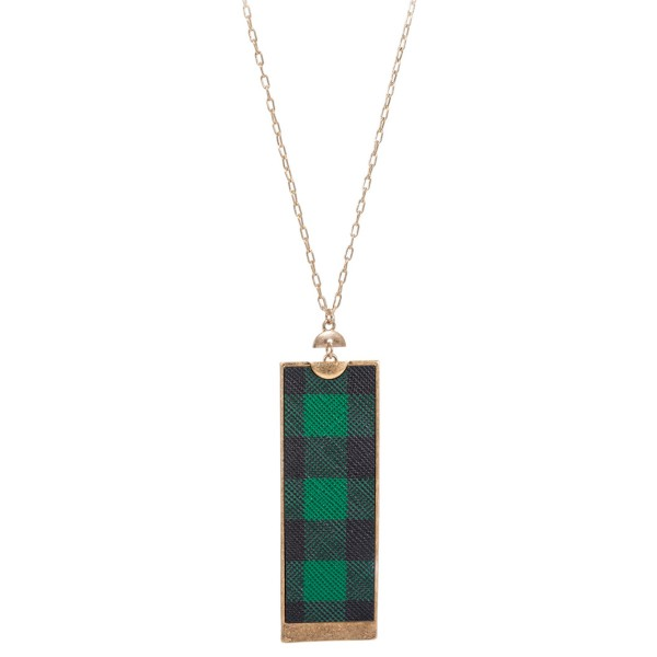 Wholesale long Necklace Metal Encased Faux Leather Buffalo Plaid Pendant Pendant