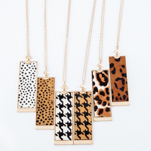 "Long Necklace Featuring Metal Encased Genuine Cheetah Print Rectangle Pendant.  - Pendant 3""  - Approximately 36"" Long  - 3"" Adjustable Extender"