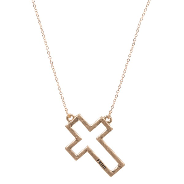 """Faith Stamped Cross Pendant Necklace.  - Pendant 1"""" - Approximately 18"""" Long  - 3"""" Adjustable Extender"""