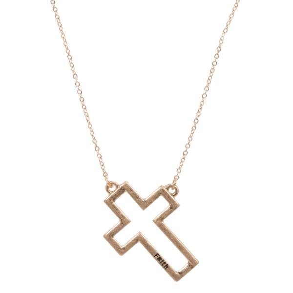Wholesale faith Stamped Cross Pendant Necklace Pendant Long Adjustable Extender