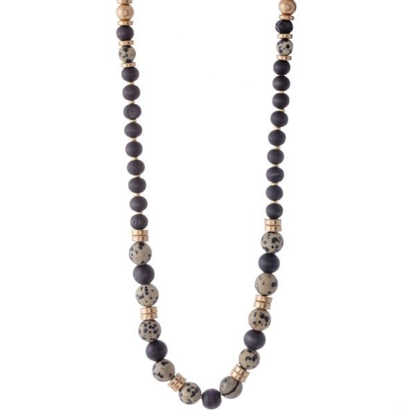 "Long Wood Beaded Necklace Featuring Natural Stone Bead Details.  - Approximately 30"" Long - 2.5"" Adjustable Extender"