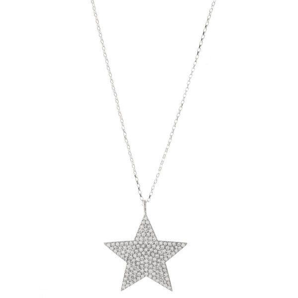 Wholesale long Necklace Rhinestone Star Pendant Silver Pendant Long Adjustable E