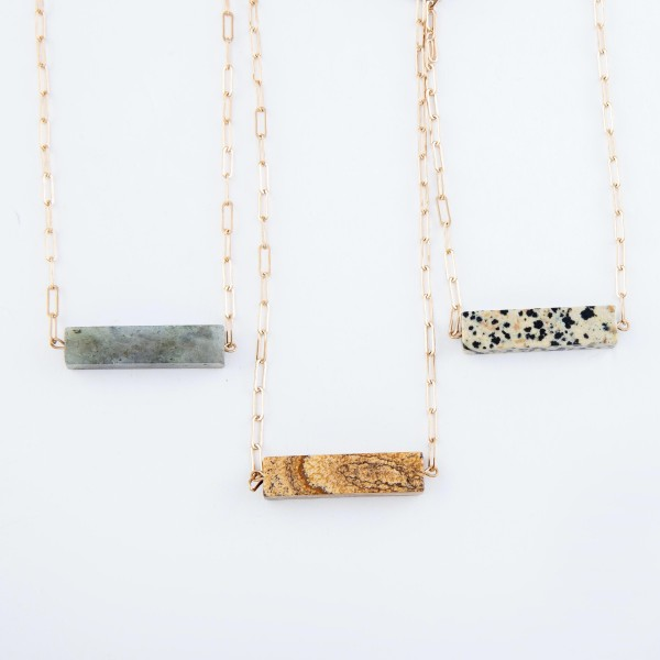 "Hera Link Natural Stone Bar Necklace in Gold.  - Pendant 1.5"" Long  - Approximately 14"" Long - 3.5"" Adjustable Extender"