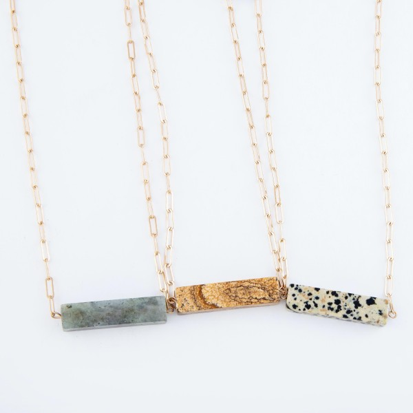 """Hera Link Natural Stone Bar Necklace in Gold.  - Pendant 1.5"""" Long  - Approximately 14"""" Long - 3.5"""" Adjustable Extender"""