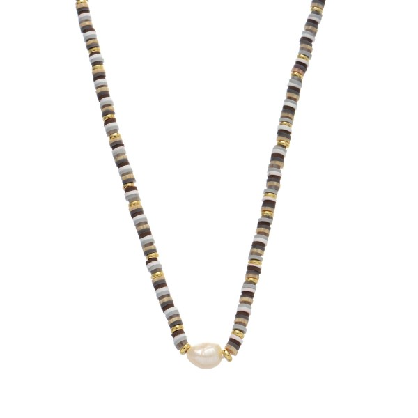"Rubber Spacer Beaded Baroque Pearl Necklace.  - Pearl 5mm  - Approximately 14"" Long  - 3"" Adjustable Extender"