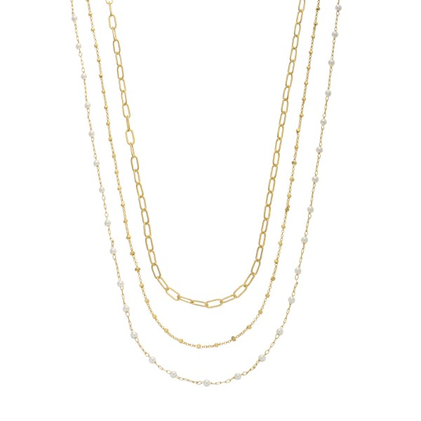 Chain Link Layered Pearl Necklace.