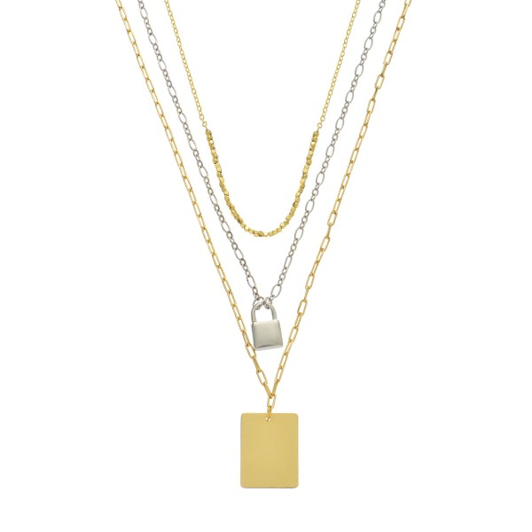 "Two Tone Chain Link Layered Lock Pendant Necklace.  - Pendant's .5"" - 1""  - Approximately 18"" Long  - 3"" Adjustable Extender"