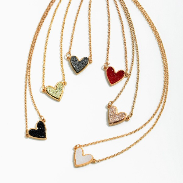 "Druzy Heart Pendant Necklace in Gold.  - Pendant .5""  - Approximately 14"" in Length - 3"" Adjustable Extender"