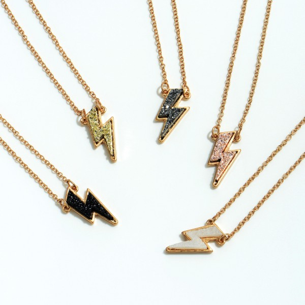 "Lightning Bolt Druzy Pendant Necklace in Gold.  - Pendant .75""  - Approximately 16' in Length - 3"" Adjustable Extender"