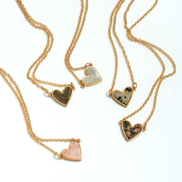 "Natural Stone Heart Pendant Necklace in Gold.  - Pendant .5""  - Approximately 14' in Length - 3"" Adjustable Extender"