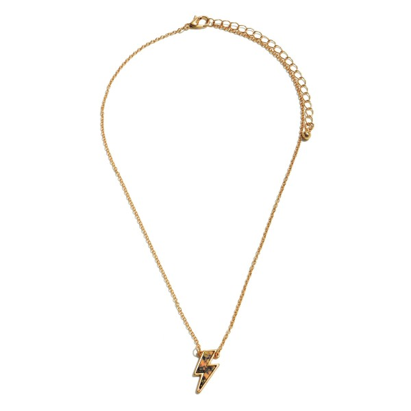 """Natural Stone Lightning Bolt Pendant Necklace in Gold.  - Pendant .75""""  - Approximately 16"""" in Length - 3"""" Adjustable Extender"""