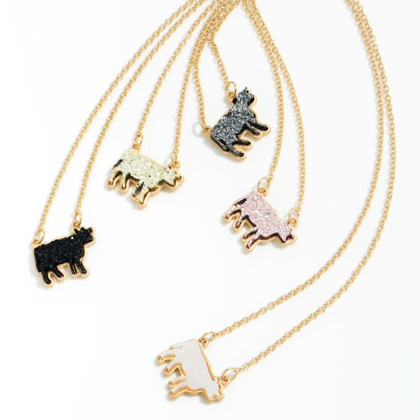 "Druzy Cow Pendant Necklace in Gold.  - Pendant .75'  - Approximately 16"" in Length - 3"" Adjustable Extender"