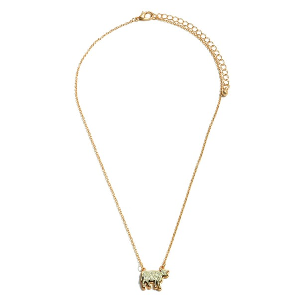 """Druzy Cow Pendant Necklace in Gold.  - Pendant .75'  - Approximately 16"""" in Length - 3"""" Adjustable Extender"""