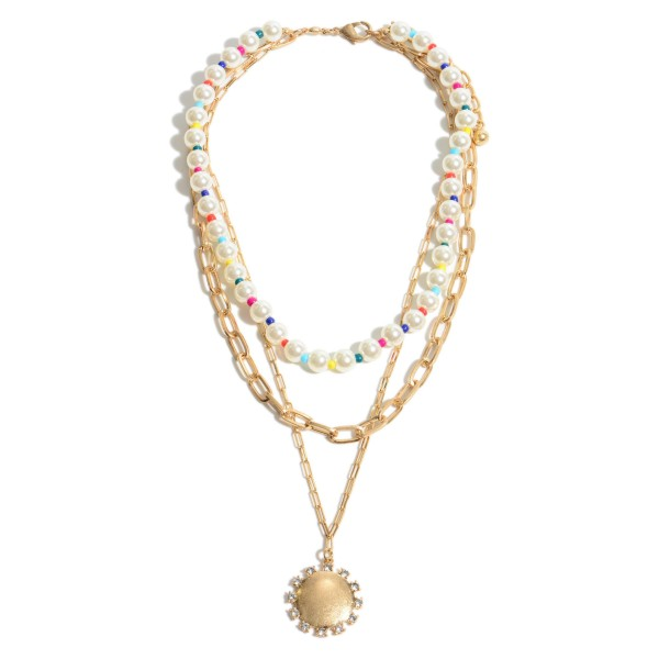 """Pearl Beaded Layered Chain Link Pendant Necklace Featuring Rhinestone & Multicolor Accents.  - Pendant 1"""" in Diameter - Shortest Layer 12""""  - Approximately 20"""" in Diameter - 3"""" Adjustable Extender"""