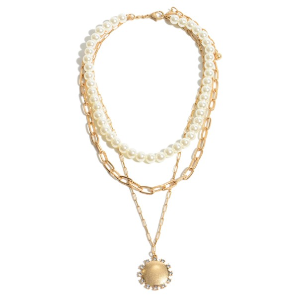 """Pearl Beaded Layered Chain Link Pendant Necklace Featuring Rhinestone Accents.  - Pendant 1"""" in Diameter - Shortest Layer 12""""  - Approximately 20"""" in Diameter - 3"""" Adjustable Extender"""