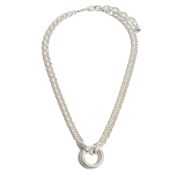 "Chain Link Ring Pendant Necklace in a Worn Finish.  - Pendant 1"" in Diameter - Approximately 16"" in Length - 2"" Adjustable Extender"