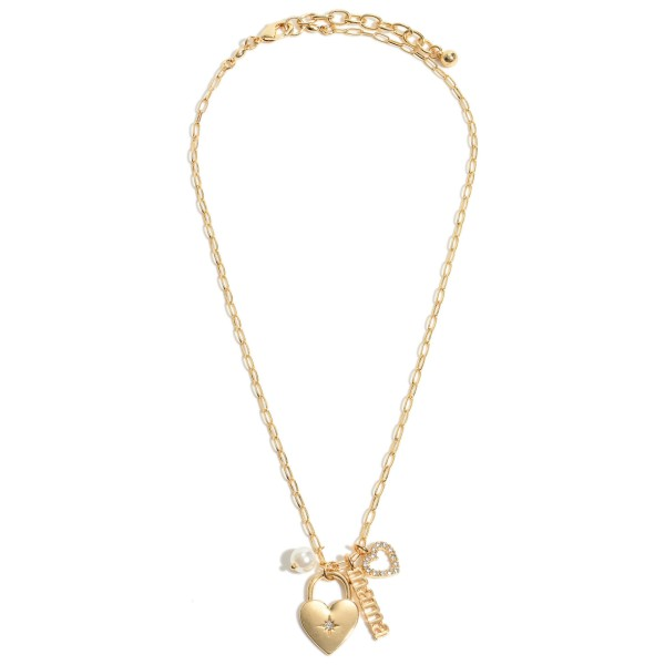 "Mama Heart Padlock Pendant Necklace Featuring a Pearl Accent.  - Pendant 1""  - Approximately 18"" in Length - 3"" Adjustable Extender"