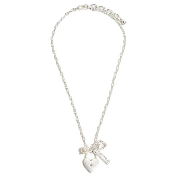 "Mama Heart Padlock Pendant Necklace Featuring a Pearl Accent in a Worn Finish.  - Pendant 1""  - Approximately 18"" in Length - 3"" Adjustable Extender"