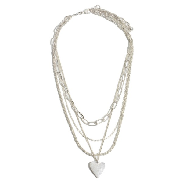 "Chain Link Layered Heart Pendant Necklace in a Worn Finish.  - Pendant 1""  - Approximately 20"" in Length - 3"" Adjustable Extender"