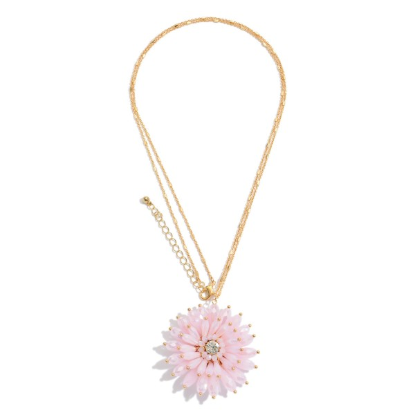 "Long Necklace in Gold Featuring a Crystal Beaded Flower Pendant with a Rhinestone Accent.  - Pendant 2""  - Approximately 34"" in Length - 3"" Adjustable Extender"