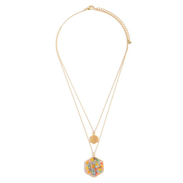 "Layered Beaded Honeycomb Pendant Necklace in Gold.  - Pendant 1""  - Approximately 18"" in Length - 3"" Adjustable Extender"
