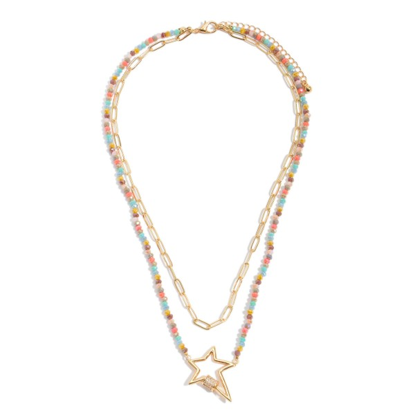 """Beaded Chain Link Layered Star Carabiner Necklace.  - Star Pendant 1""""  - Approximately 16"""" in Length - 3"""" Adjustable Extender"""