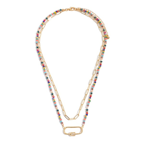 """Beaded Chain Link Layered Carabiner Necklace.  - Carabiner Pendant 1""""  - Approximately 16"""" in Length - 3"""" Adjustable Extender"""