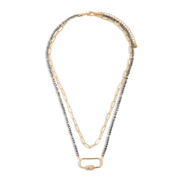 "Beaded Chain Link Layered Carabiner Necklace.  - Carabiner Pendant 1""  - Approximately 16"" in Length - 3"" Adjustable Extender"