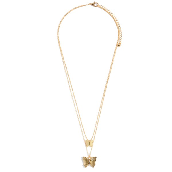 "Crystal Butterfly Layered Necklace in Gold.  - Approximately 18"" in Length - 3"" Adjustable Extender"
