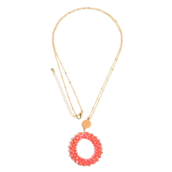 """Beaded Ring Pendant Necklace.  - Pendant 1.75"""" in Diameter - Approximately 34"""" in Length  - 3"""" Adjustable Extender"""