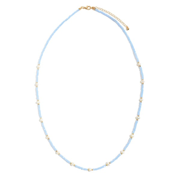 "Long Beaded Necklace Featuring Pearl Accents.  - Pearl Size 3mm - Approximately 24"" in Length - 3"" Adjustable Extender"