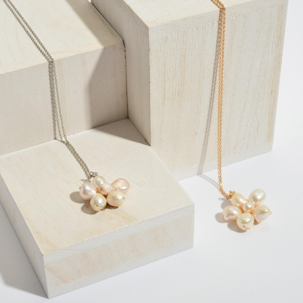 """Ivory Pearl Flower Pendant Necklace.  - Pendant 1""""  - Approximately 18"""" in Length - 3"""" Adjustable Extender"""
