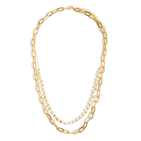 "Chain Link Layered Pearl Necklace.  - Approximately 16"" in Length - 3"" Adjustable Extender"