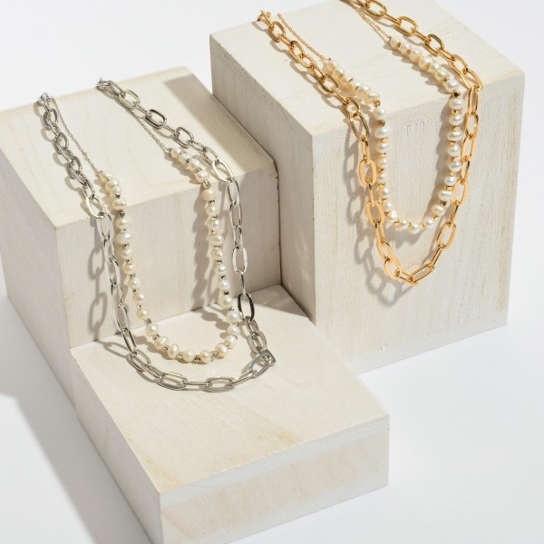 """Chain Link Layered Pearl Necklace.  - Approximately 16"""" in Length - 3"""" Adjustable Extender"""