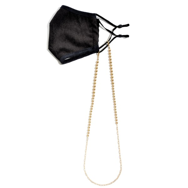 """Gold Beaded Mask Chain Lanyard Featuring Color Bead Accents.  - Helps Secure Face Mask/Sunglasses Around The Neck - Attach Clasps Together To Wear As A Trendy Necklace. - Approximately 30"""" in Length"""