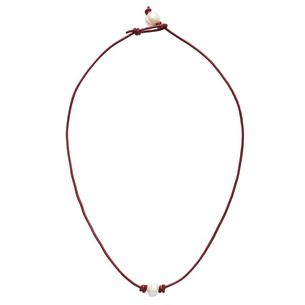 "Wax Cord Pearl Necklace.  - Pearl 8mm - Approximately 18"" in Length - Pearl Pull Through Closure"