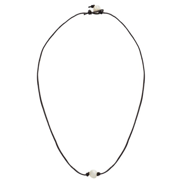 """Wax Cord Pearl Necklace.  - Pearl 8mm - Approximately 18"""" in Length - Pearl Pull Through Closure"""