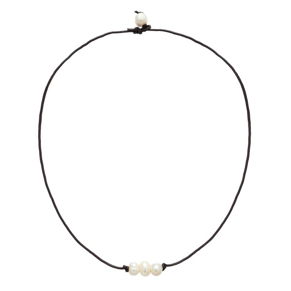 """Wax Cord Three Pearl Necklace.  - Pearl's 8mm - Pearl Pull Through Closure - Approximately 16"""" in Length"""