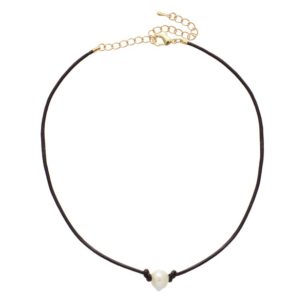 "Wax Cord Pearl Choker Necklace.  - Pearl 8mm  - Approximately 14"" in Length - 2.5"" Adjustable Extender"
