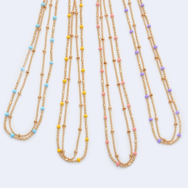 """Short Layered Necklace in Gold Featuring Epoxy Details.  - Approximately 14"""" in Length - 3"""" Adjustable Extender"""