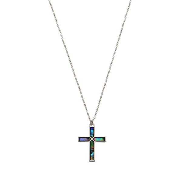 """Genuine Abalone Cross Pendant Necklace.  - Cross Pendant 1"""" - Approximately 16"""" in Length - 3"""" Adjustable Extender"""