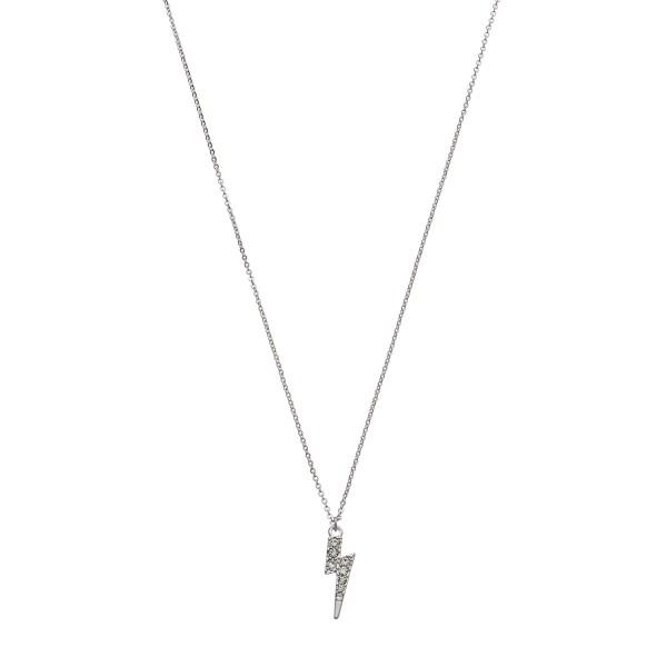 "Rhinestone Lightning Bolt Pendant Necklace.  - Pendant .5""  - Approximately 16"" in Length - 3"" Adjustable Extender"