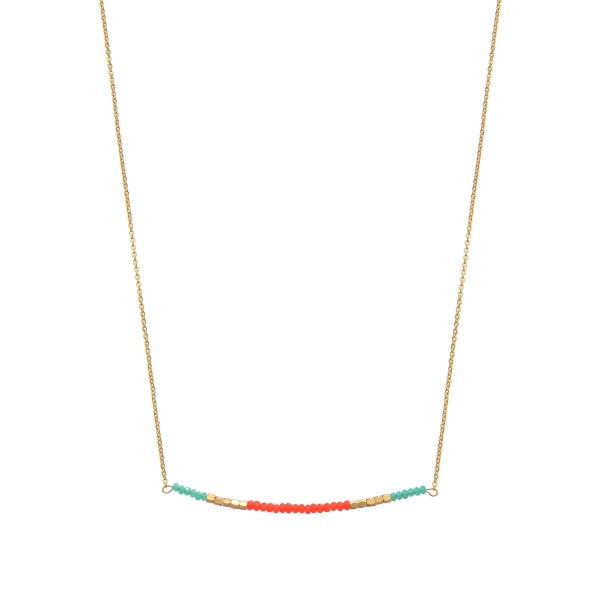"Turquoise & Coral Beaded Necklace in Gold.  - Approximately 16"" in Length  - 3"" Adjustable Extender"