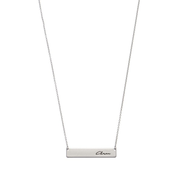 "Chosen Bar Necklace.  - Bar Pendant 1.5""  - Approximately 16"" in Length - 3"" Adjustable Extender"