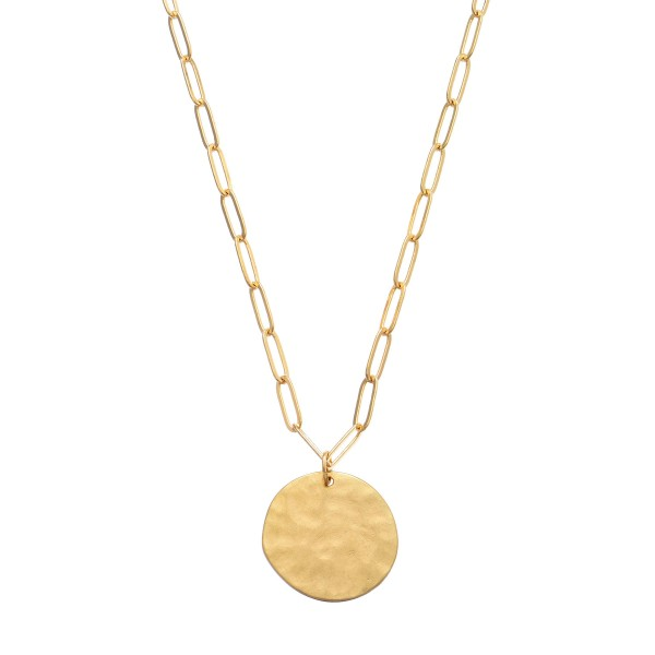 Wholesale chain Link Coin Necklace Gold Pendant Diameter Adjustable Extender