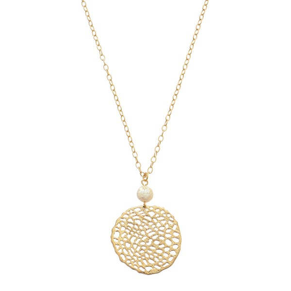 "Metal Filigree Pendant Necklace Featuring Pearl Accent in Gold.  - Pendant 1.5"" in Diameter - Approximately 26"" in Length - 3"" Adjustable Extender"