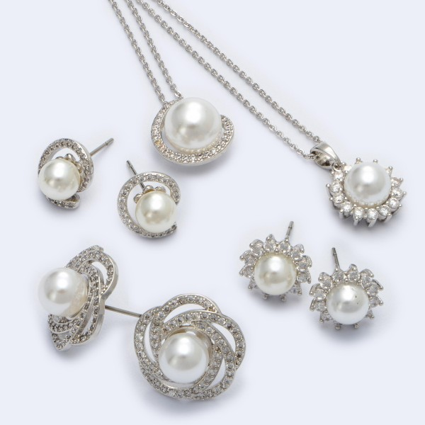 "Rhodium Plated Cubic Zirconia Pearl Pendant Necklace.  - Pearl 8mm  - Approximately 18"" in Length - 2"" Adjustable Extender"
