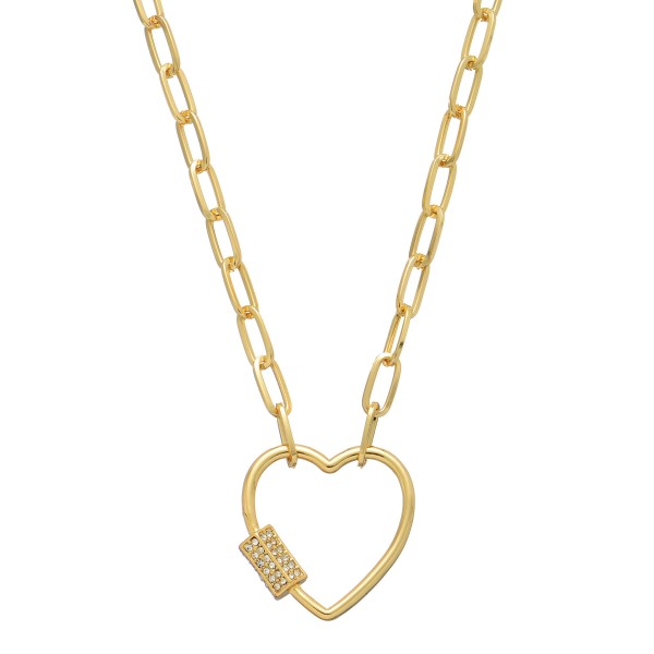 "Chain Link Rhinestone Carabiner Heart Necklace in Gold.  - Pendant 1.5""  - Approximately 16"" in Length - 2"" Adjustable Extender"