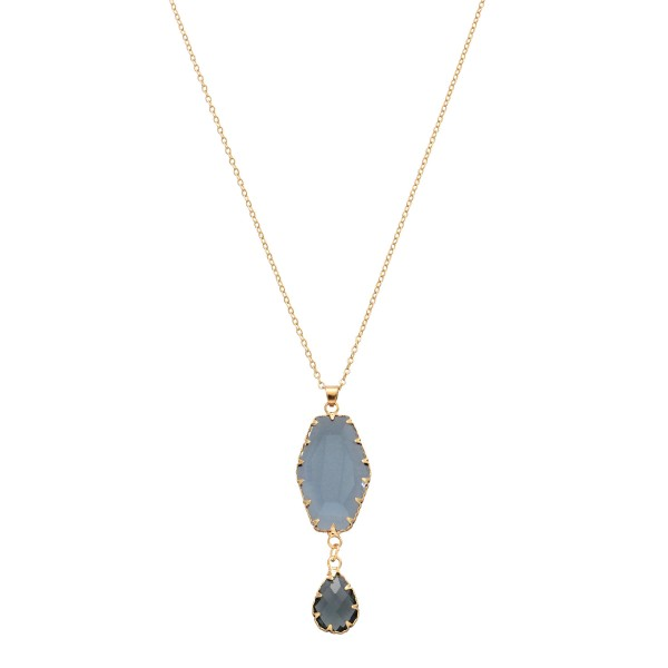 Wholesale crystal Teardrop Pendant Necklace Gold Pendant Adjustable Extender