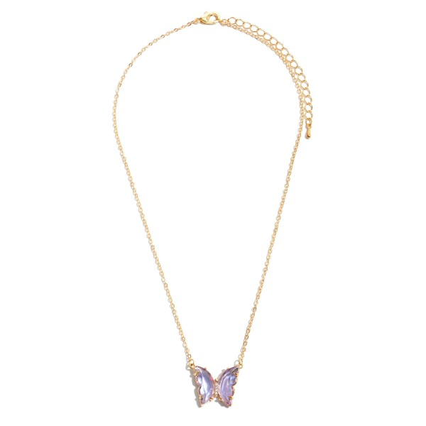 "Butterfly Crystal Necklace in Gold.  - Pendant 1""  - Approximately 16"" in Length - 3"" Adjustable Extender"